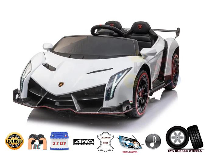 2 Seats Official 2x12V Lamborghini Veneno 4WD Kids and Toddlers Ride On w/RC