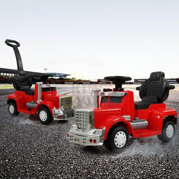 kids vip ride on push truck handle red 15