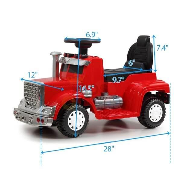 kids vip ride on push truck handle red 21