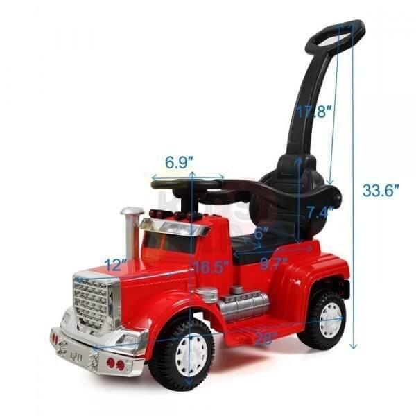 kids vip ride on push truck handle red 25