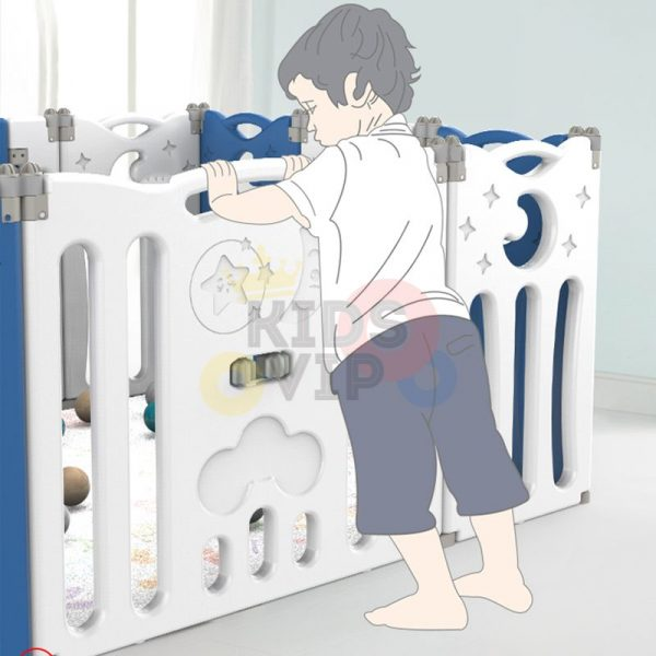kidsvip folding fence 16 panels kids toddlers blue 1