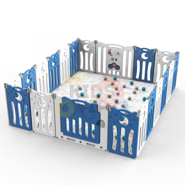 kidsvip folding fence 16 panels kids toddlers blue 16
