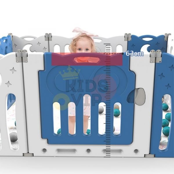 kidsvip folding fence 16 panels kids toddlers blue 2