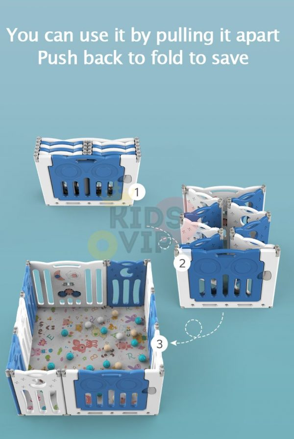 kidsvip folding fence 16 panels kids toddlers blue 20