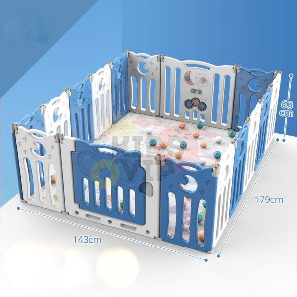 kidsvip folding fence 16 panels kids toddlers blue 4