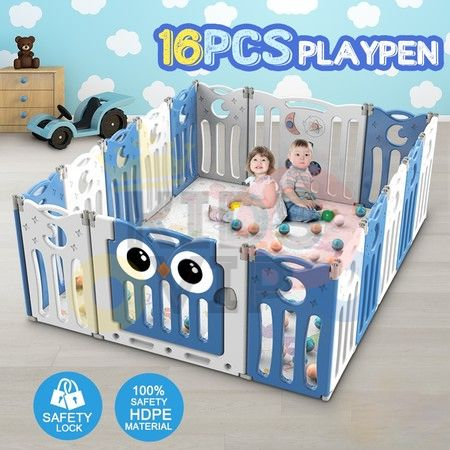 kidsvip folding fence 16 panels kids toddlers blue 9