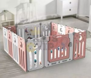kidsvip folding fence 16 panels kids toddlers pink 1