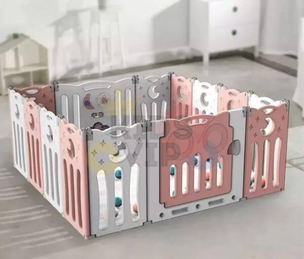 kidsvip folding fence 16 panels kids toddlers pink 1