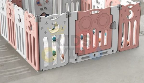 kidsvip folding fence 16 panels kids toddlers pink 11