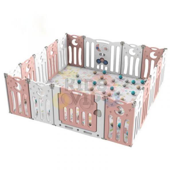 kidsvip folding fence 16 panels kids toddlers pink 5 1