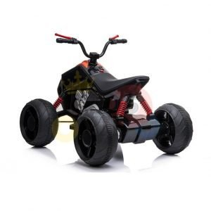 kids atv 24v ride on rubber wheels leather seat black 1