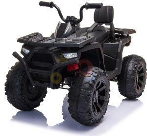 24v titan kids atv rubber wheels leather seat black 12