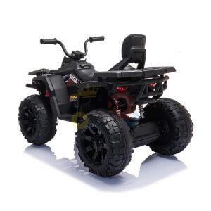 24v titan kids atv rubber wheels leather seat black 4