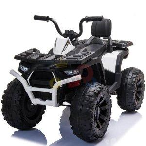 24v titan kids atv rubber wheels leather seat white 13