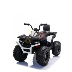 24v titan kids atv rubber wheels leather seat white 16