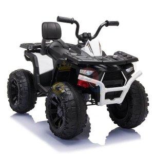 24v titan kids atv rubber wheels leather seat white 2