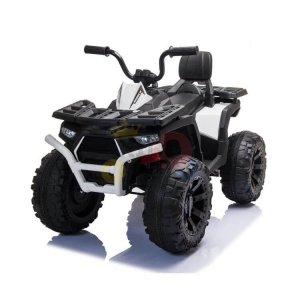 24v titan kids atv rubber wheels leather seat white 3
