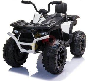 24v titan kids atv rubber wheels leather seat white 4