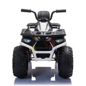 24v titan kids atv rubber wheels leather seat white 7