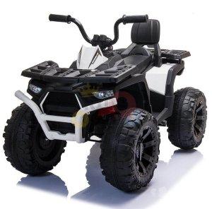24v titan kids atv rubber wheels leather seat white 8