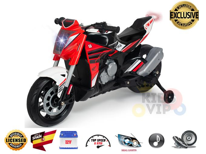 INJUSA 12V Naked Edition Official Honda Motorcycle for Kids, Stabilizer Wheels
