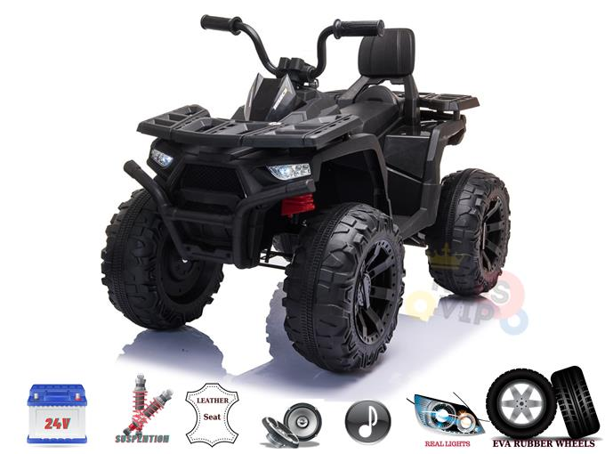 24v Titan Edition Kids Ride On Quad ATV with Rubber Wheels, Leather SeatWheels