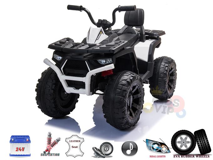 24v Titan Edition Kids Ride On Quad ATV with Rubber Wheels, Leather Seat