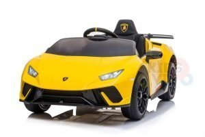 kidsvip lamborghini huracan 12v kids toddlers ride on car rc leather seat yellow 1