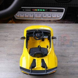 kidsvip lamborghini huracan 12v kids toddlers ride on car rc leather seat yellow 21