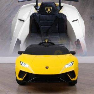kidsvip lamborghini huracan 12v kids toddlers ride on car rc leather seat yellow 28