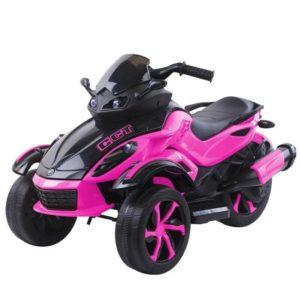 kidsvip 2 wheel atv bike rubberr wheels leather kids ride on pink 1